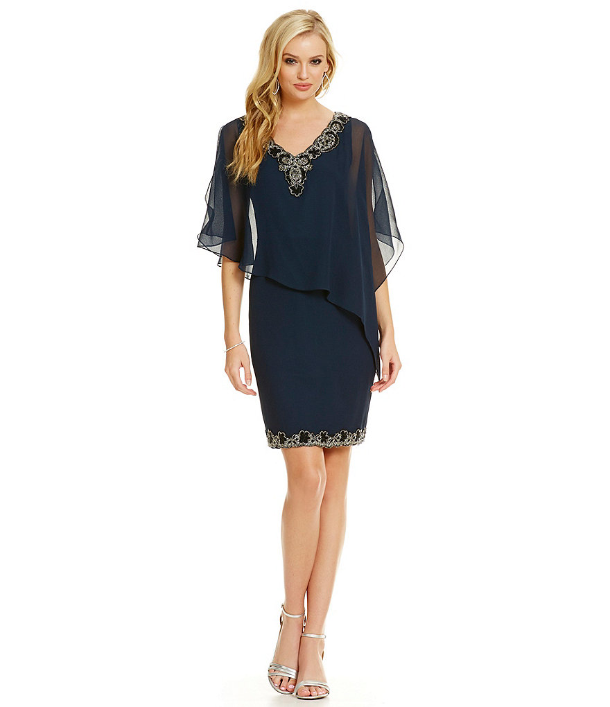 V-neck Half-Sleeves Beaded Short/Mini Chiffon Mother of the Bride Dresses