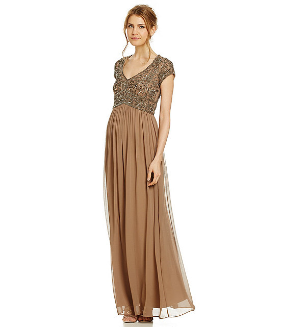 A-line V-neck Cap-Sleeve Beaded Ankle-length Long Chiffon Mother of the Bride Dress