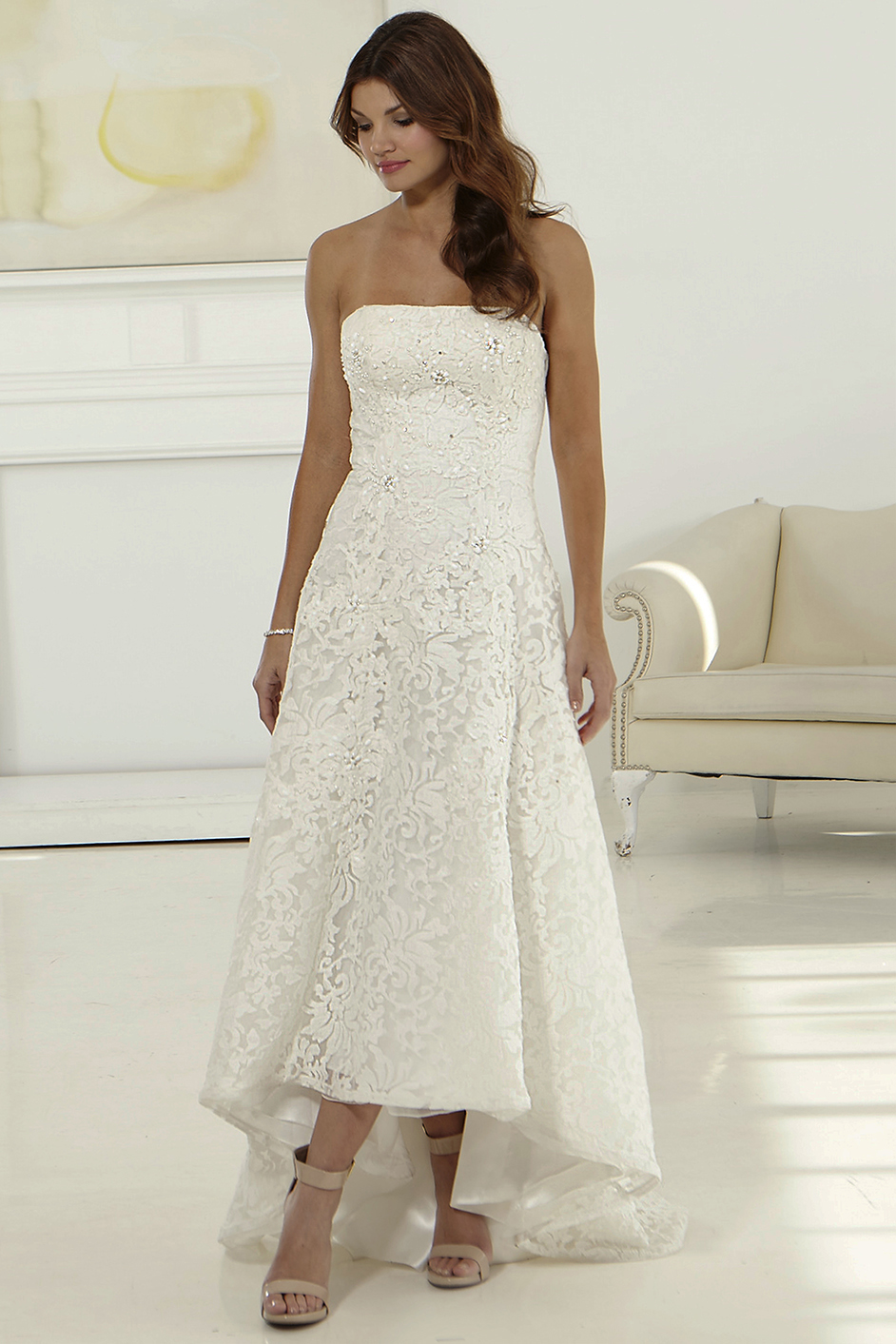 Charming A-line Asymmetrical Lace Wedding Dress