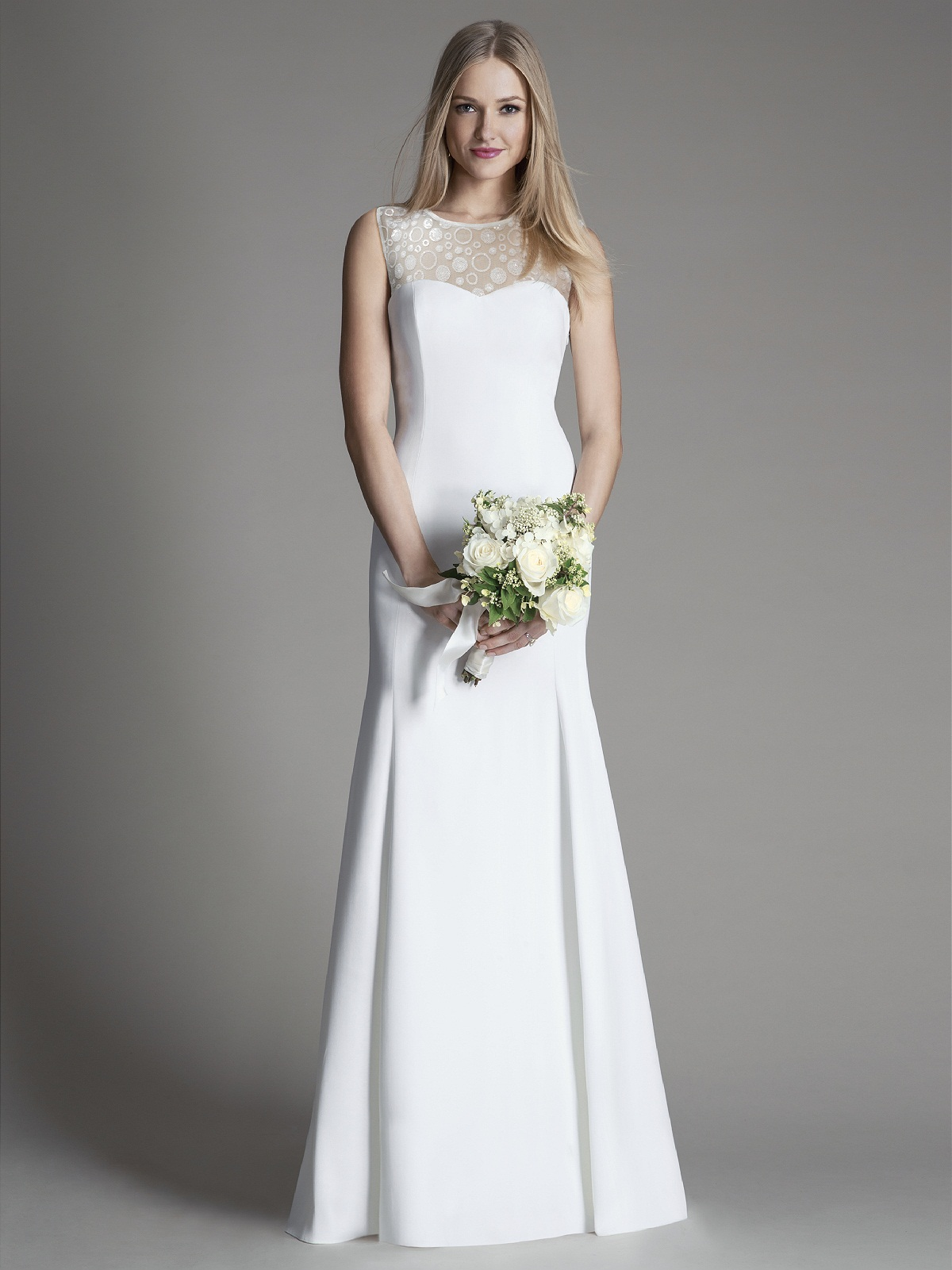 Simple Illusion Neck Sleeveless Lace Appliqued Satin Fit Flared Satin Wedding Dress
