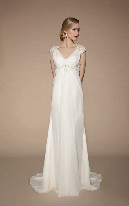 Exquisite A-line V-neck Appliques Lace Sweep/Brush Train Chiffon Wedding Dresses