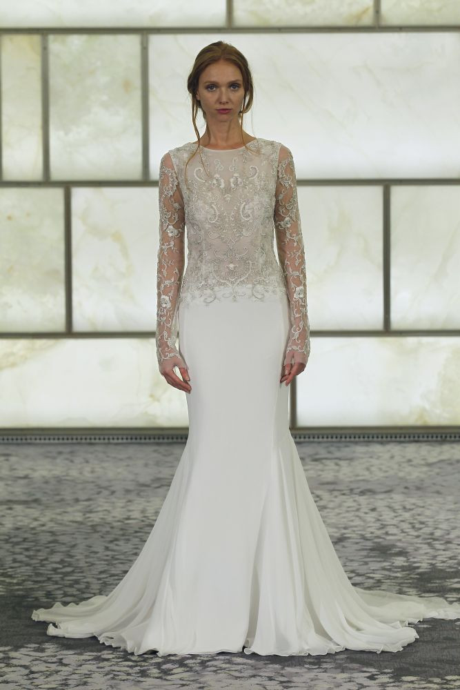 Sparkle Beaded Patterns Top Mermaid Chiffon Wedding Dress with Long Sleeves