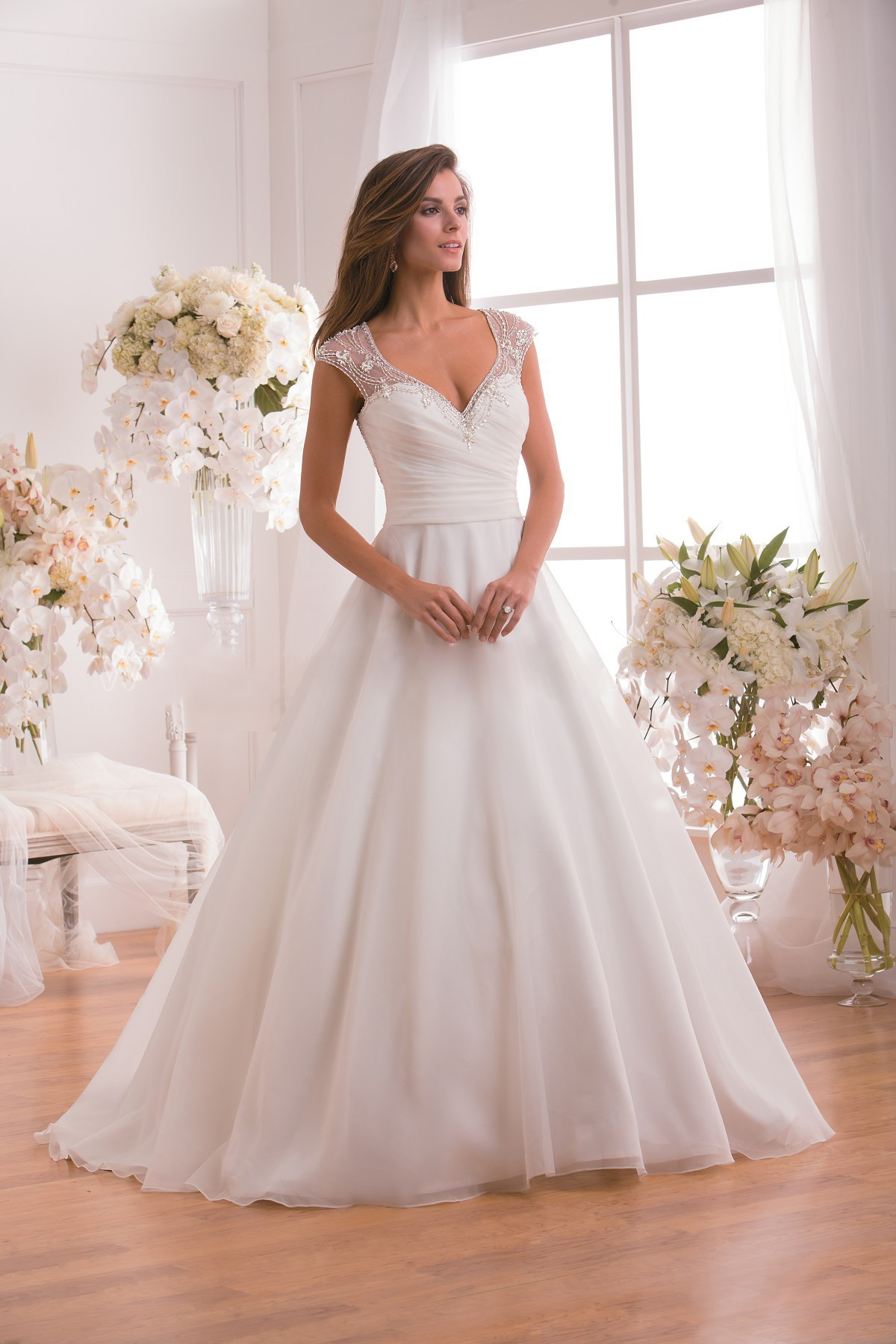 Sparkle Lace Strap V Neck Embroidered Bodice Sheer Organza Wedding Dress