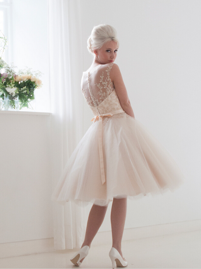 Ball Gown Lace Embroidered Top Illusion Neck Tulle Wedding Dress