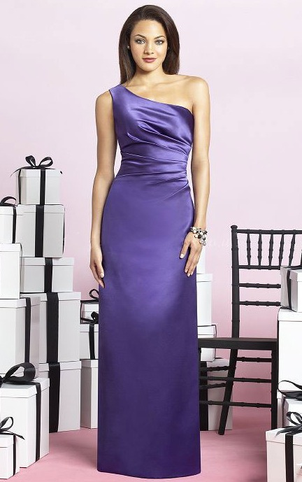 One Shoulder Natural Zipper Sheath Sleeveless Bridesmaid Dresses