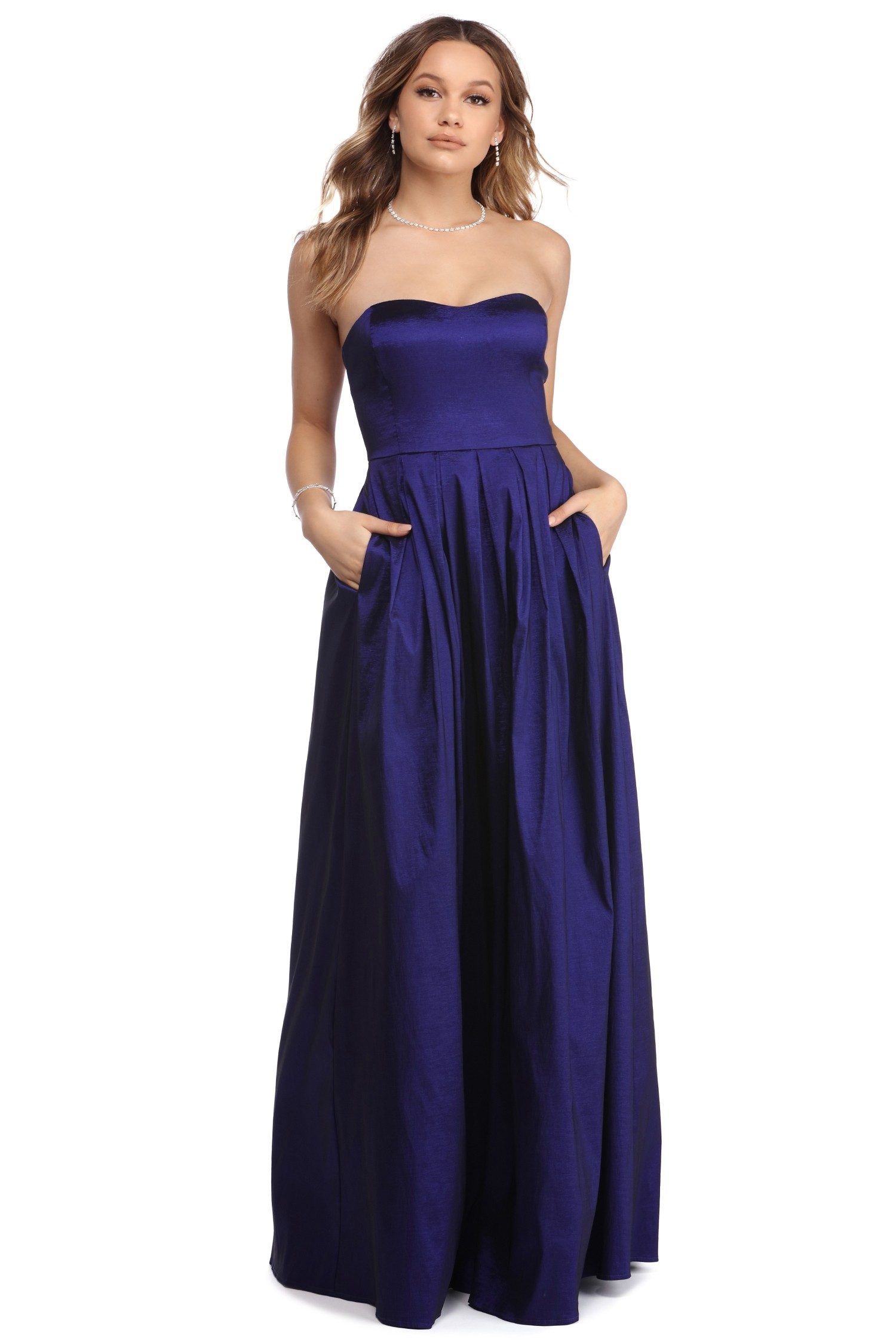 Strapless Sweetheart Long Royal Blue Satin Prom Dress with Pockets