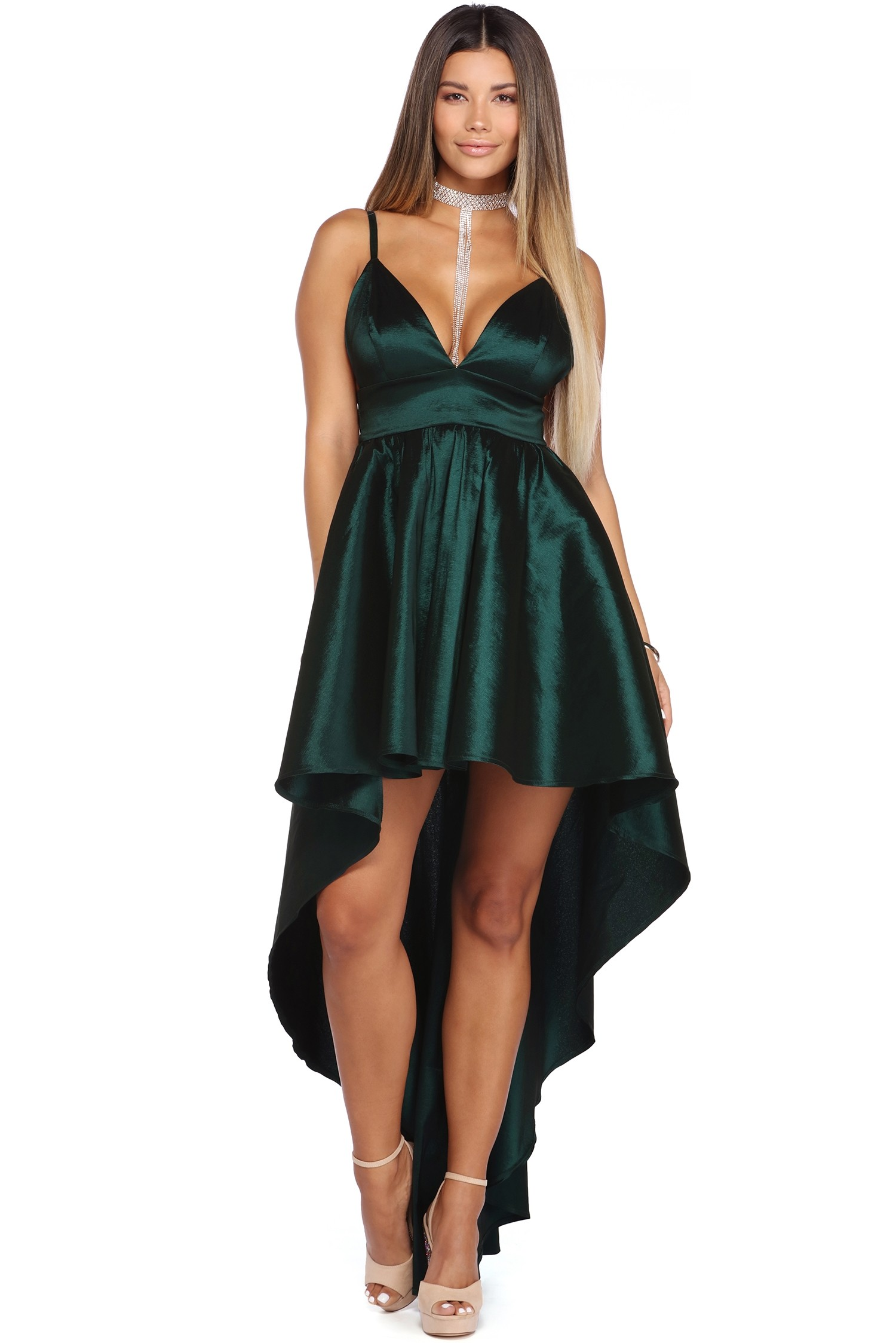 High Low Spaghetti Straps Long Satin Ball Gown Prom Dress