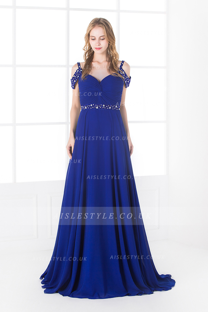 Off the Shoulder Beading A-line Royal Blue Chiffon Prom Dress with Belt