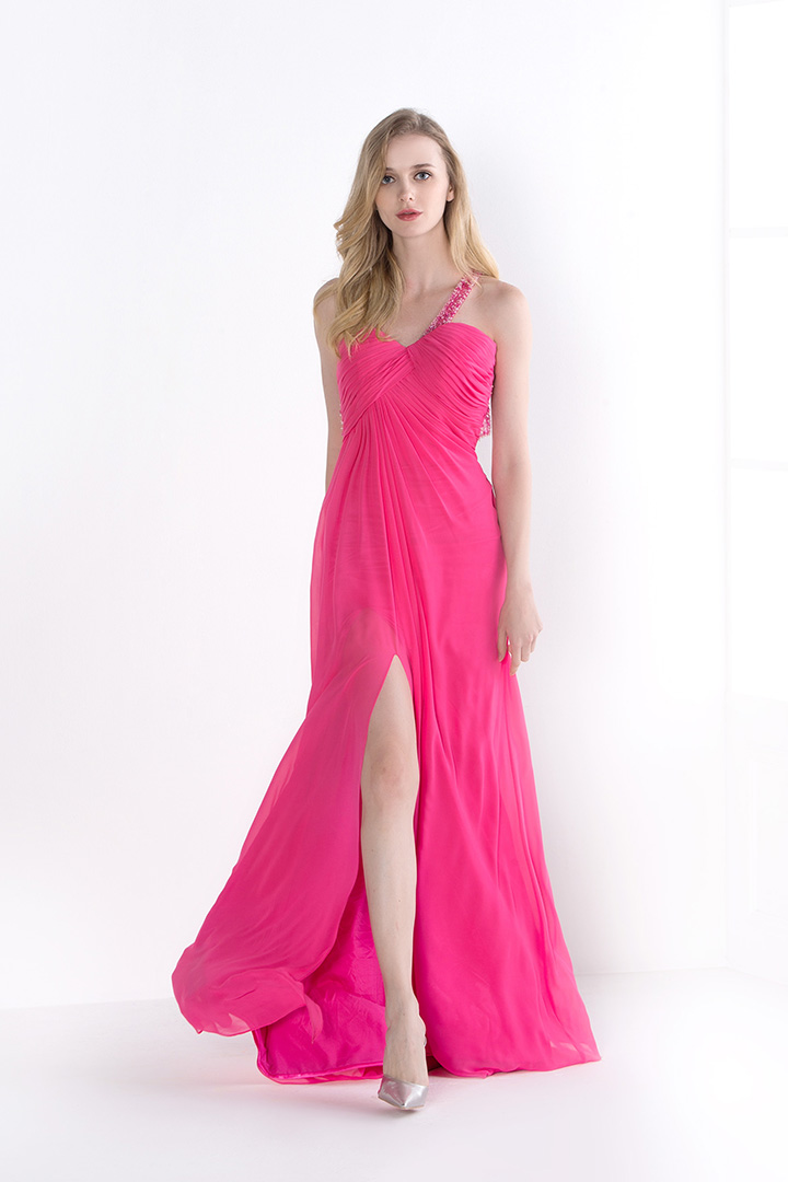 Beading One Shoulder Split Rose Chiffon Sexy Prom Dress