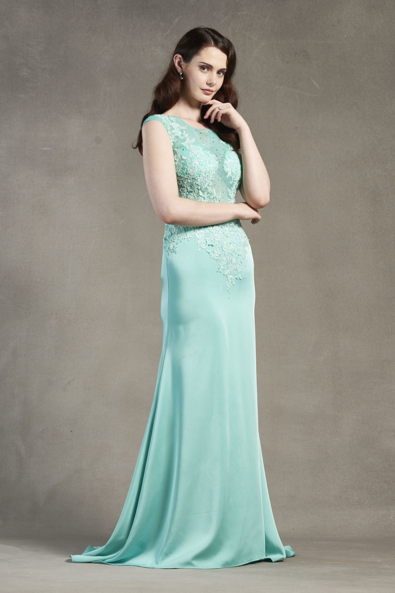 Sleeveless Illusion Neck Lace Appliques Sheath Long Satin Chiffon Prom Dress