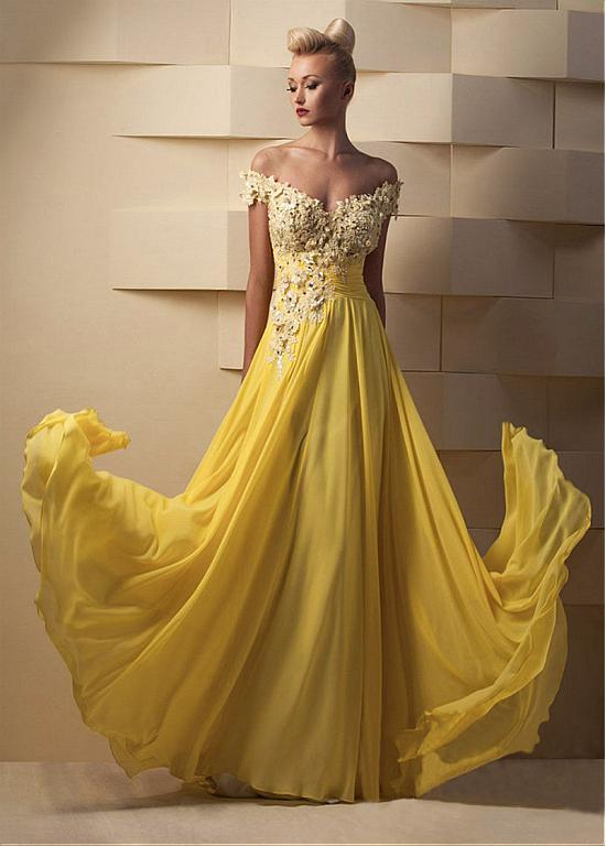 Off Shoulder Yellow Lace Appliques Long Chiffon Prom Dress