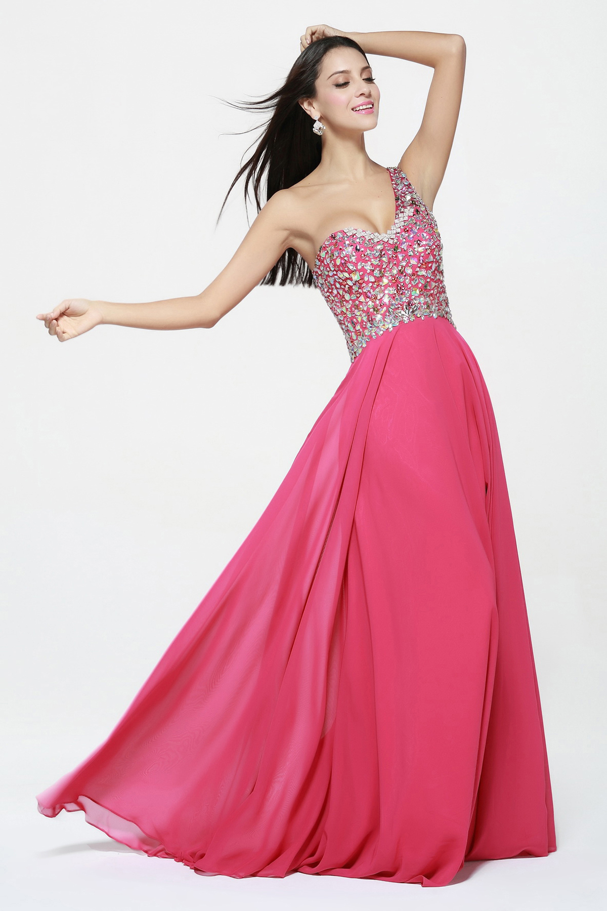 Beading One Shoulder Sleeveless Long Chiffon Prom Dress