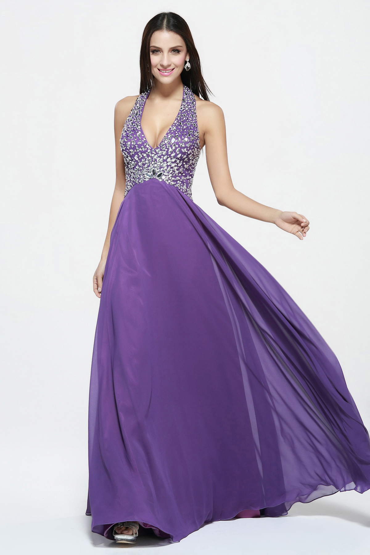 V Neck Long A-line Beading Bodice Chiffon Sparkle Prom Dress