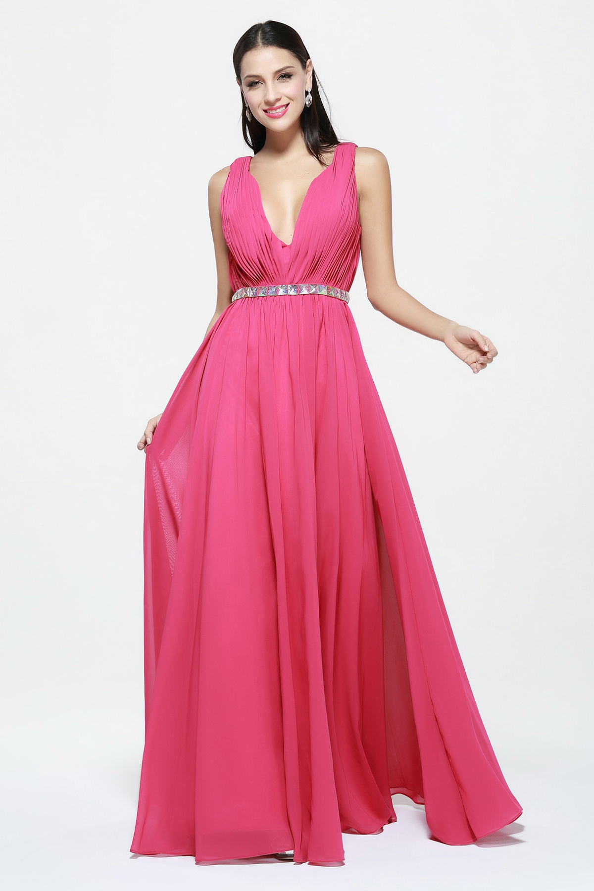 Simple V Neck Long Rose Chiffon Prom Dress