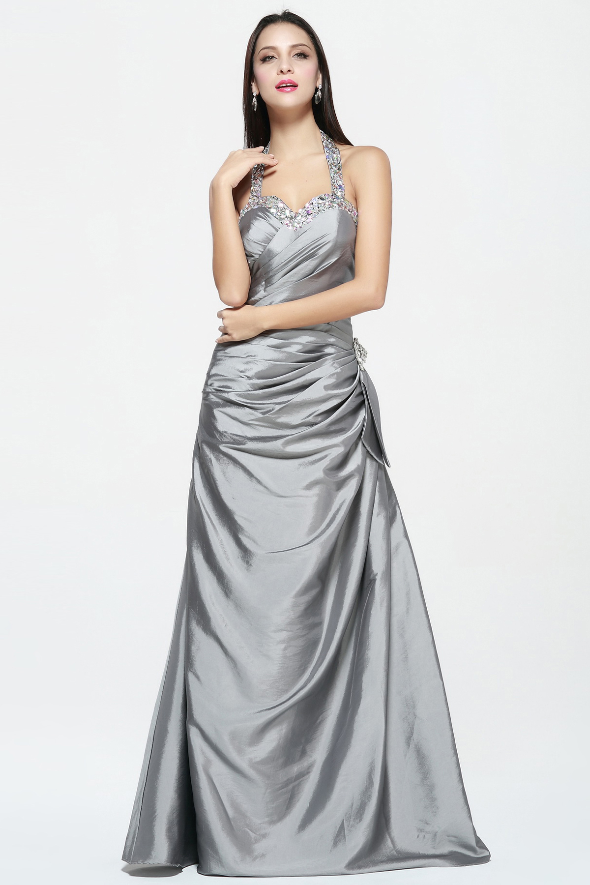 Sleeveless Halter Neck A-line Long Taffeta Prom Dress with Bow Back