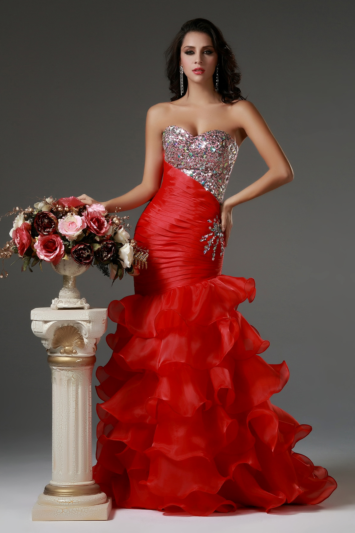 Mermaid Beading Cascading Ruffled Red Long Organza Prom Dress