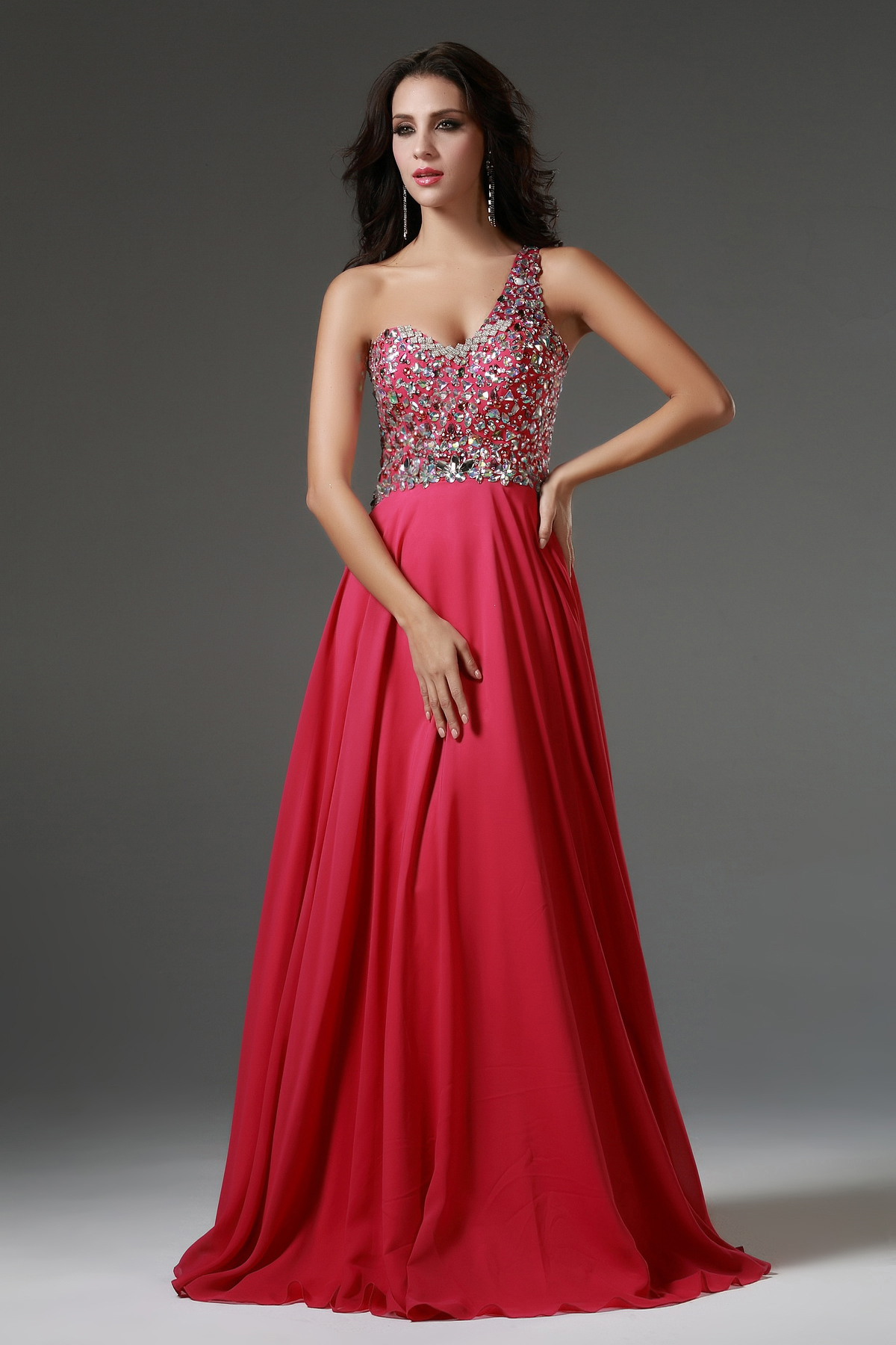 Sleeveless One Shoulder Beading Long Chiffon Prom Dress