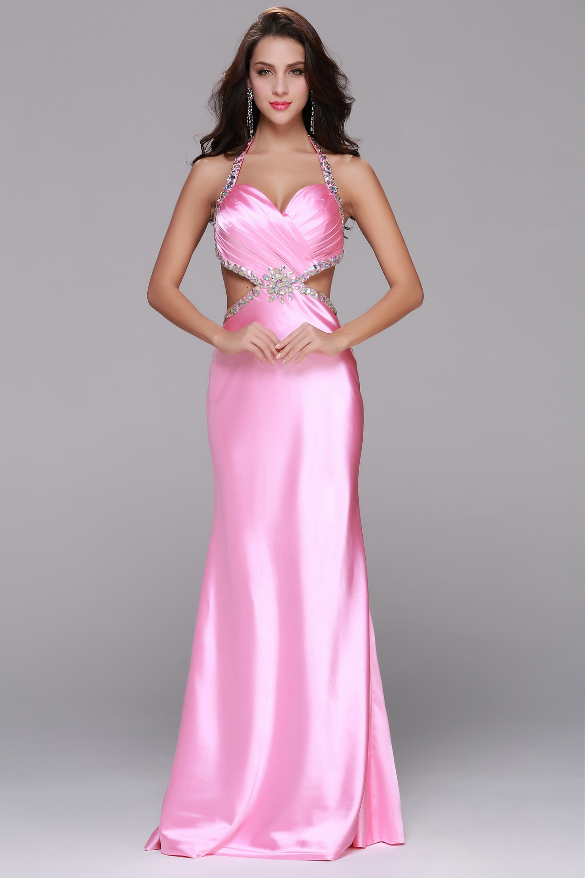 Sexy Beading Spaghetti Straps Trumpet Long Pink Satin Prom Dress