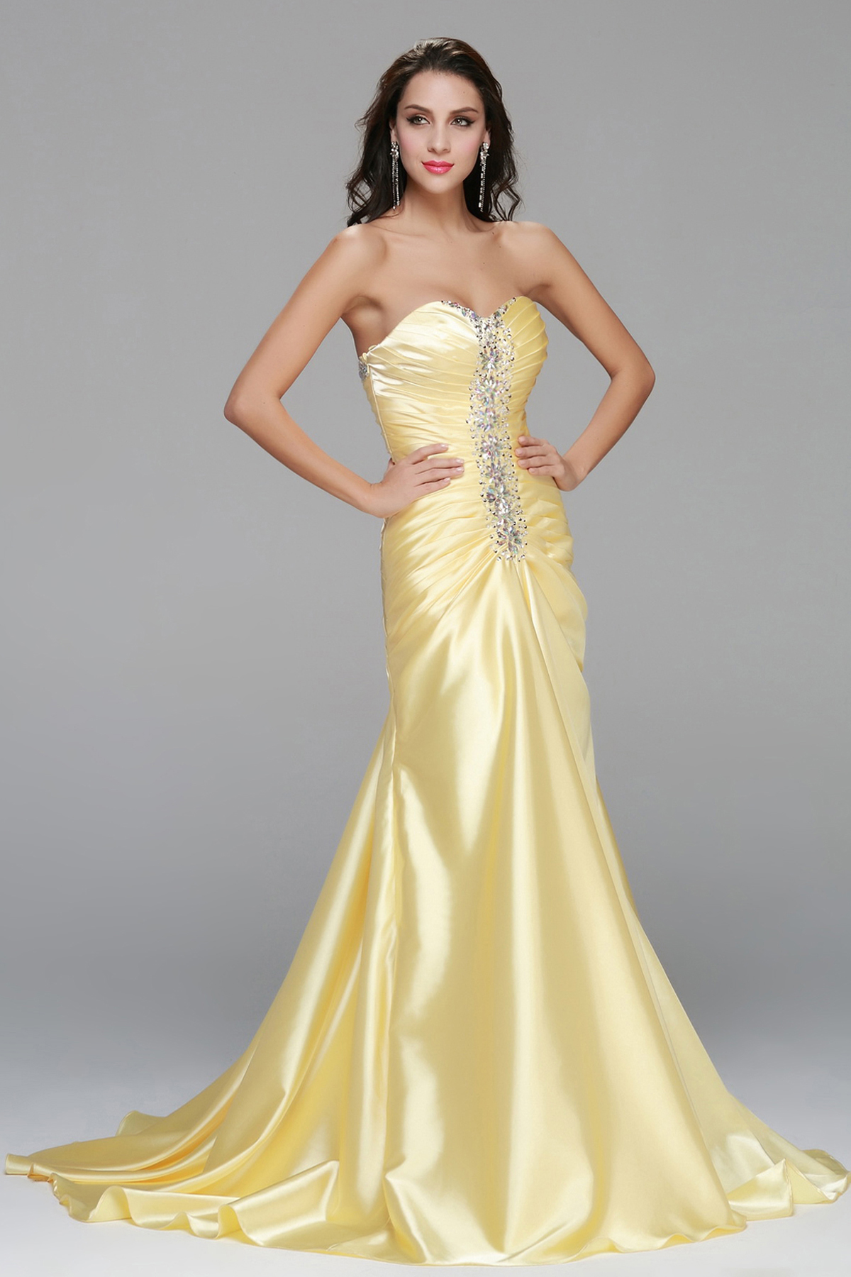 Strapless A-line Long Daffodil Stretch Satin Long Prom Dress