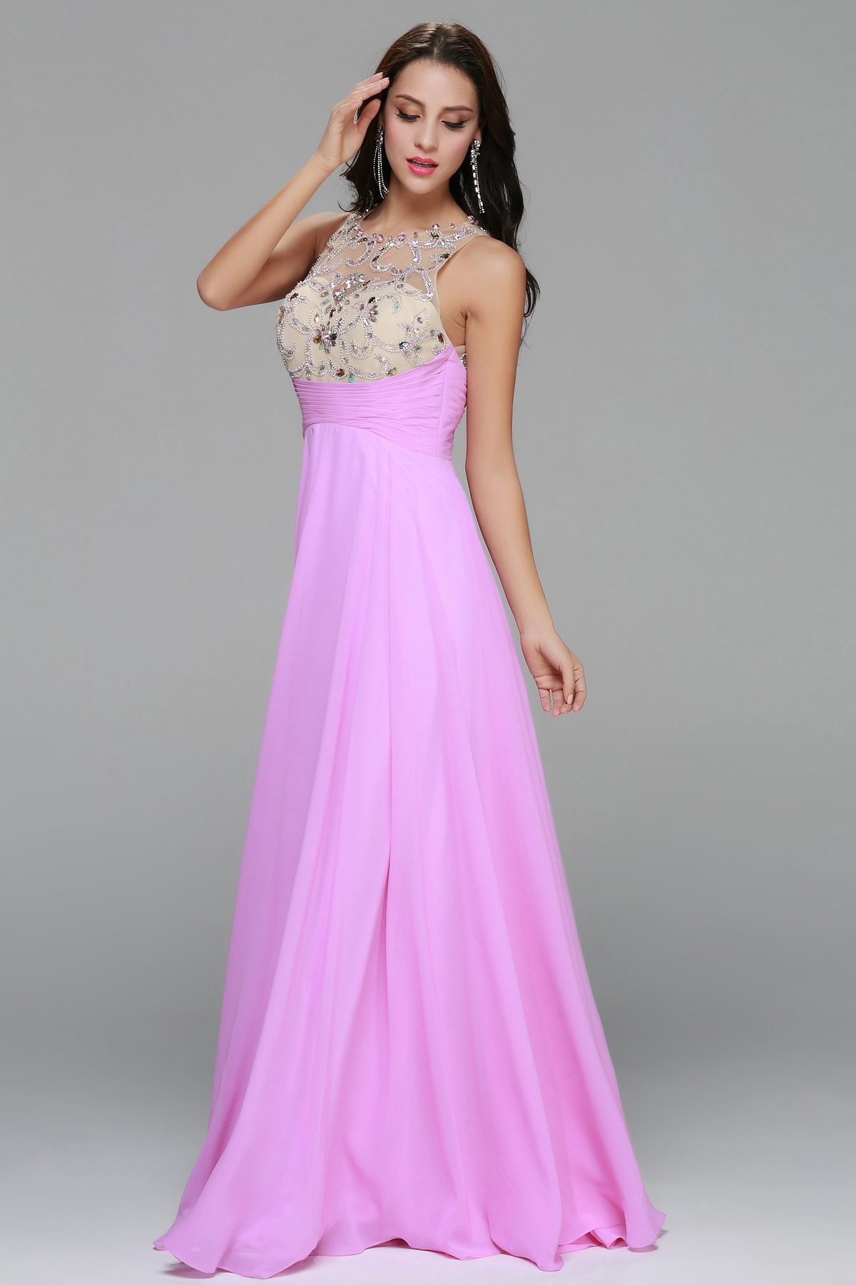 Sleeveless Beading A-line Long Chiffon Prom Dress