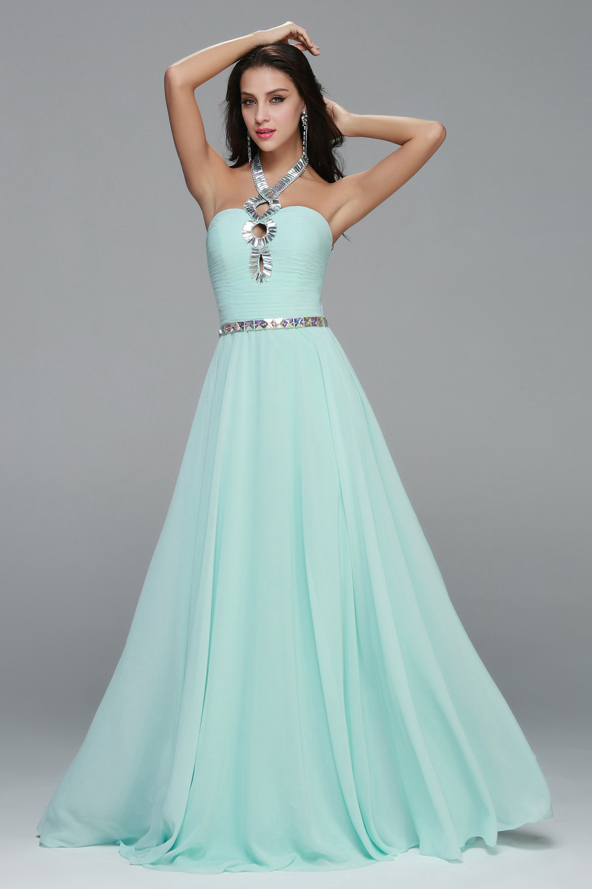 Unique Beading Front A Line Long Chiffon Prom Dress