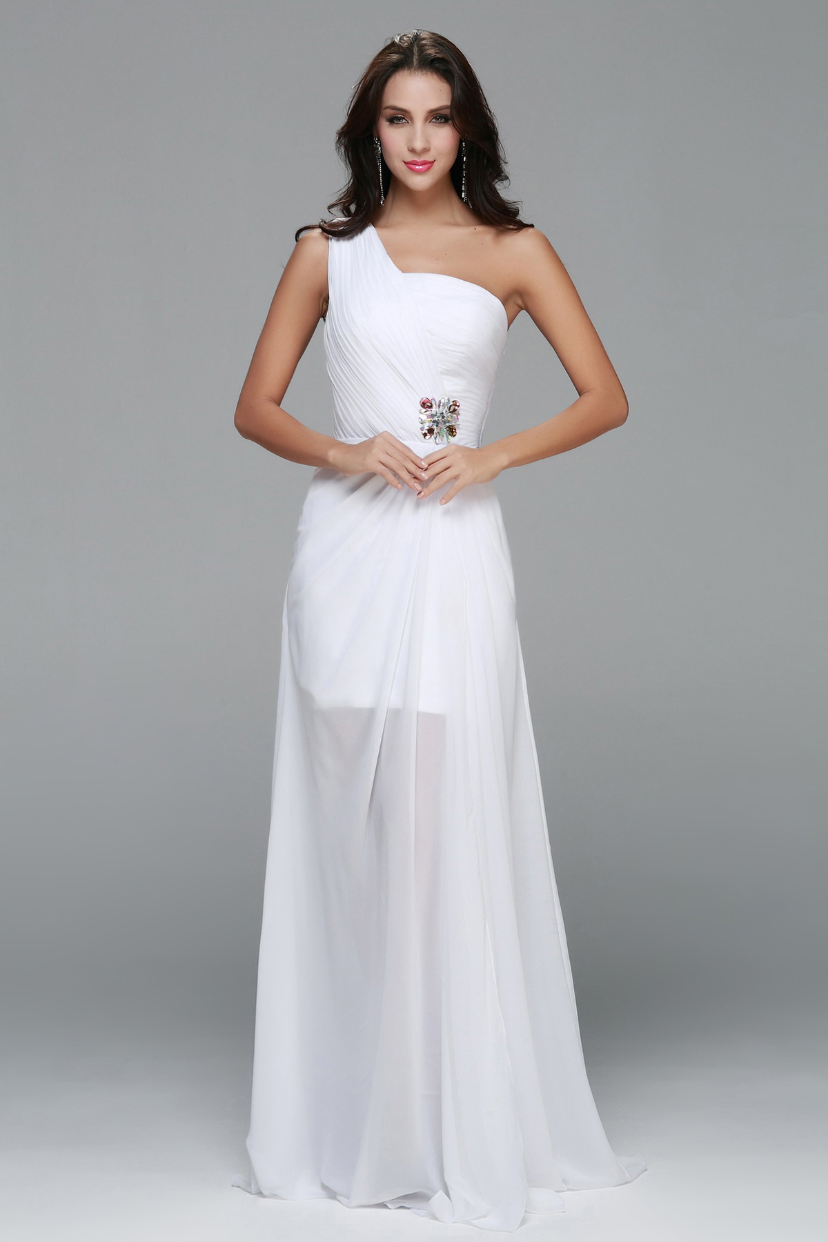 Simple One Shoulder A-line Long White Chiffon Prom Dress with Beading