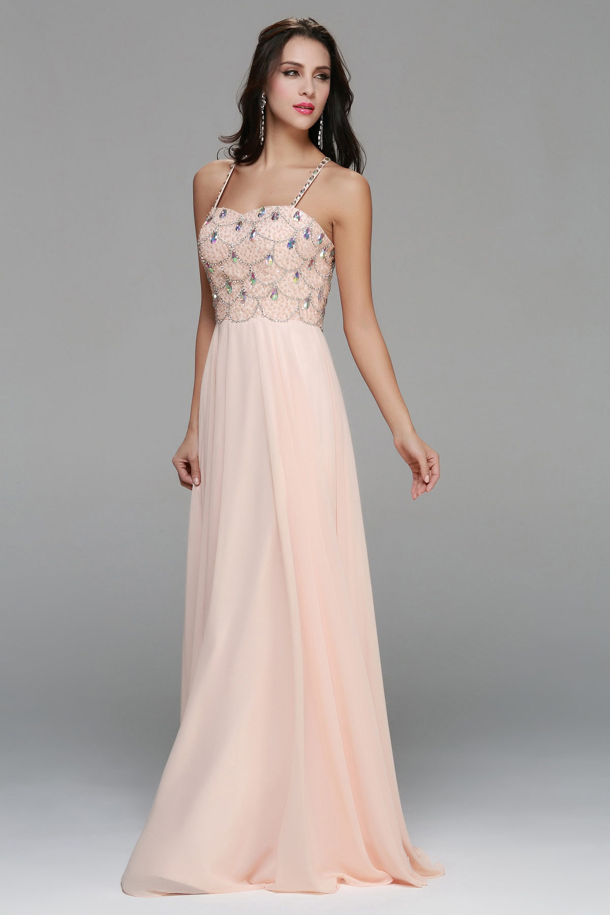 Sparkling Beaded Bodice A-line Long Chiffon Prom Dress