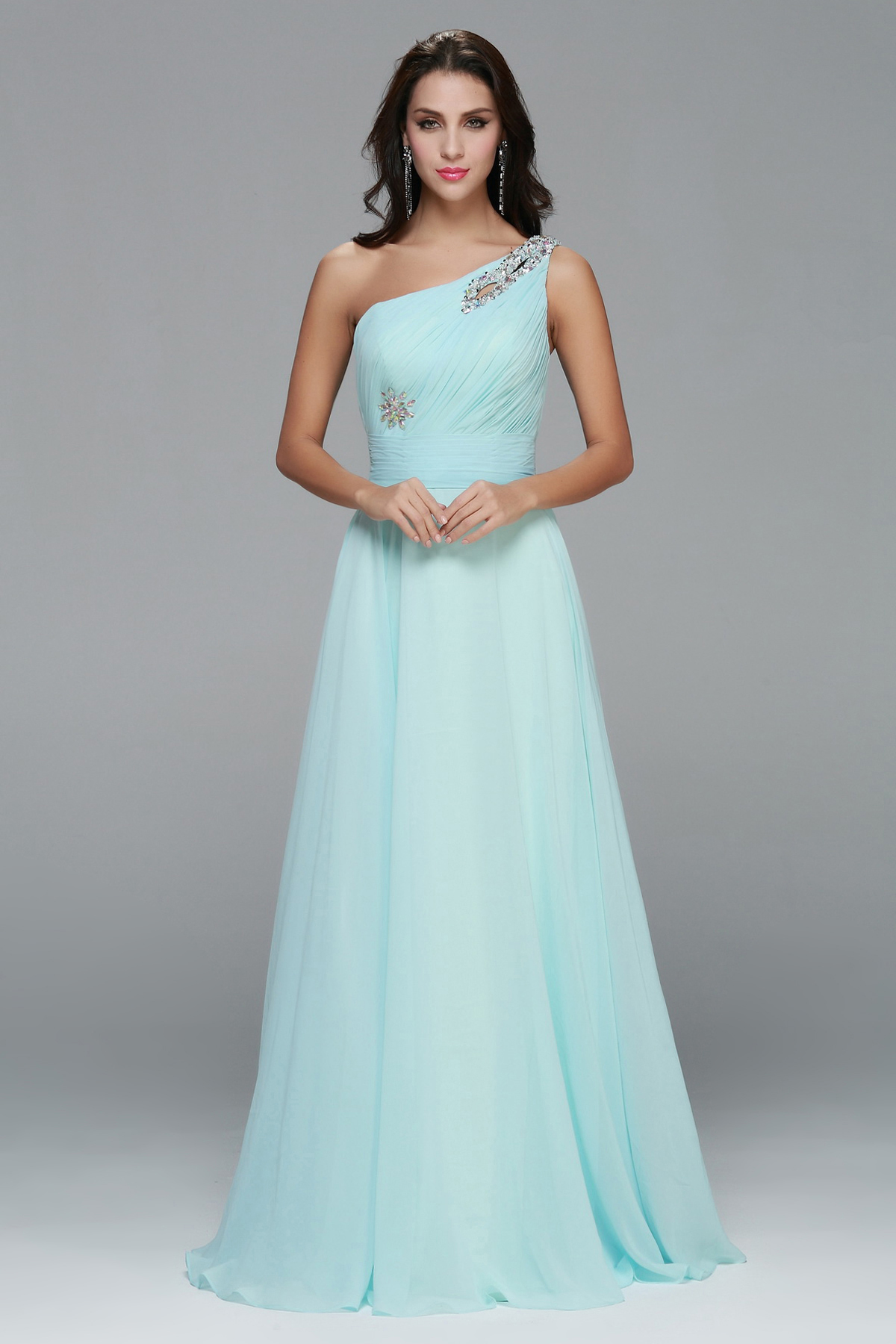 Sleeveless One Shoulder Long Chiffon A-line Junior Prom Dress