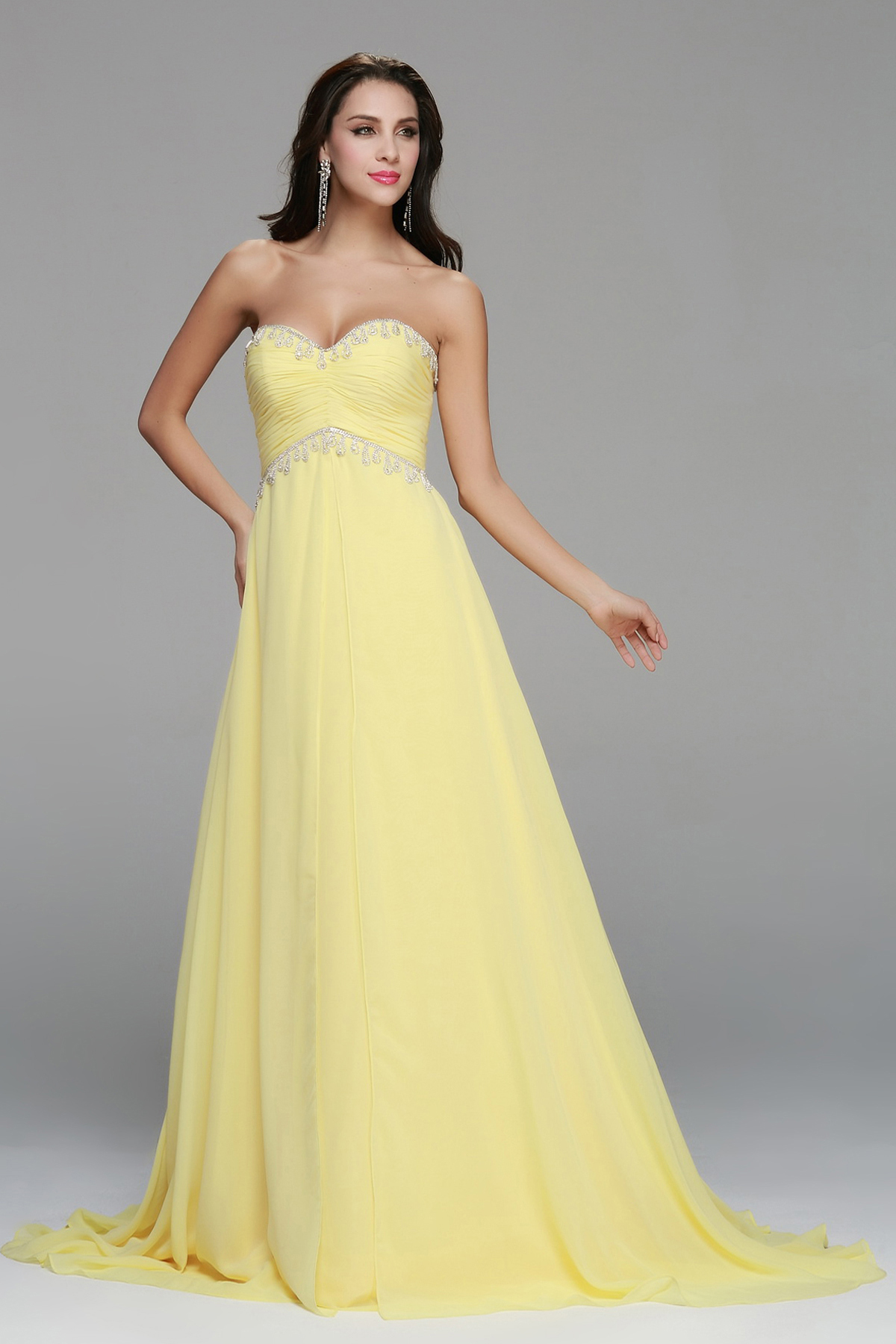 Strapless Beading A-line Yellow Chiffon Prom Dress