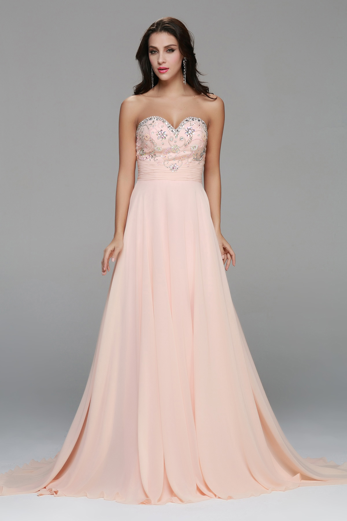 Peachy Strapless Empire Beading Long Soft Chiffon Junior Prom Dress