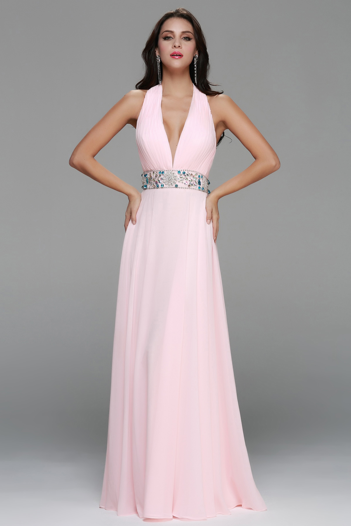 Deep V Neck Halter Long Pale Pink Chiffon Prom Dress with Beading