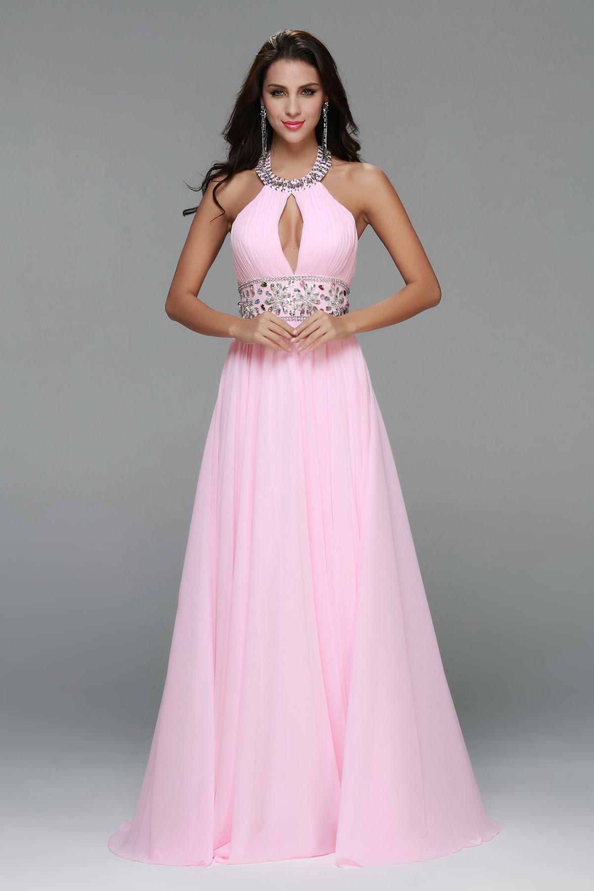 Pink Halter Neck Long Chiffon Junior Prom Dress with Beading