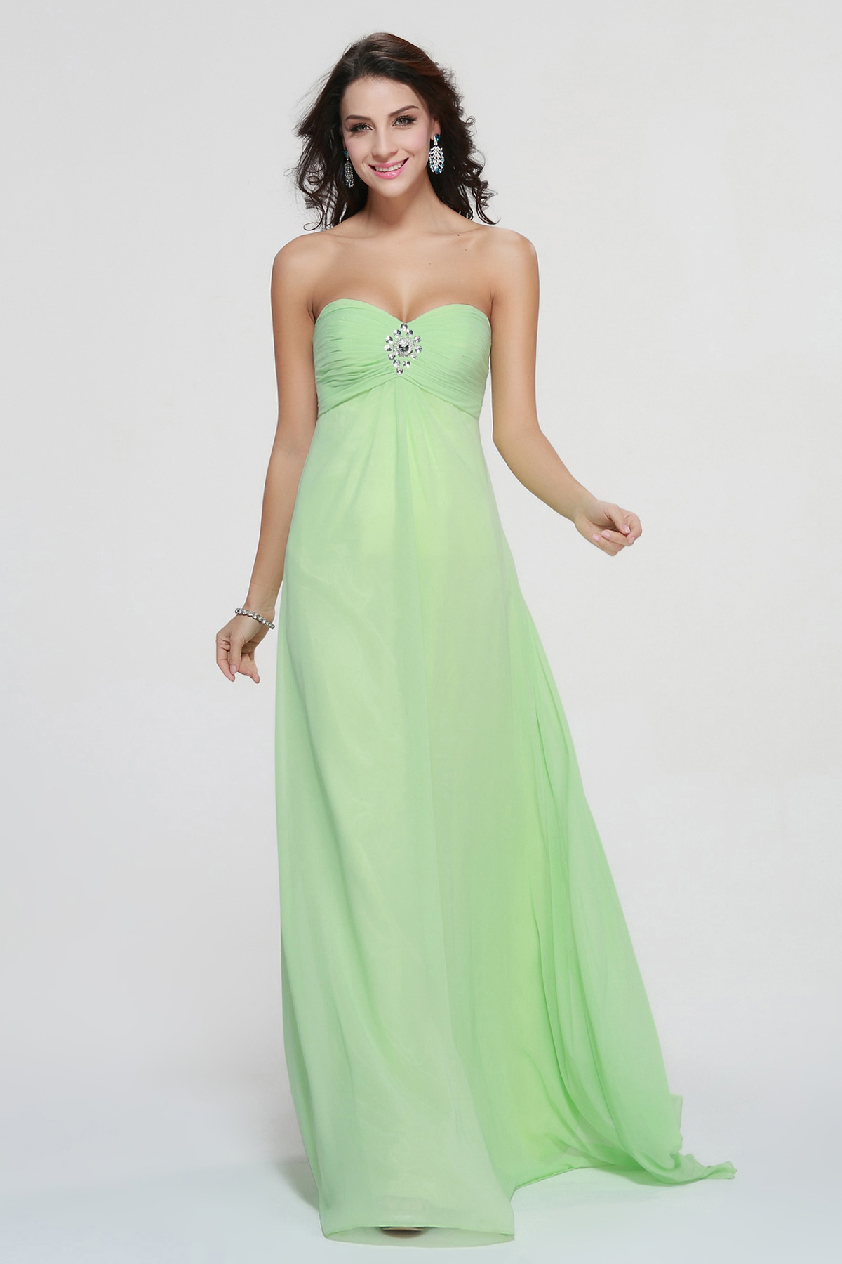 Simple Strapless Empire Long Chiffon Junior Prom Dress Cheap