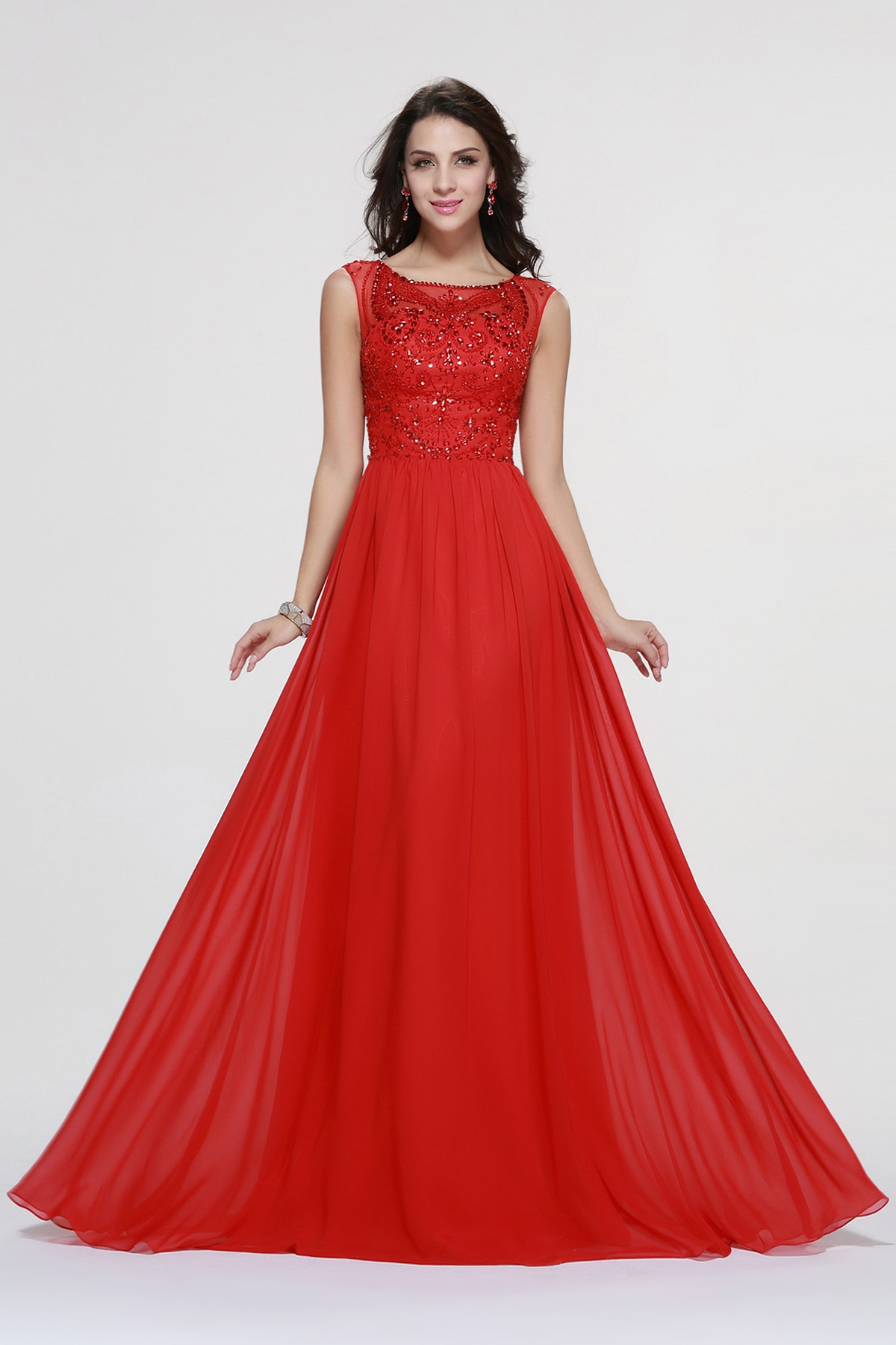 Sparkling Beaded A-line Red Long Prom Dress