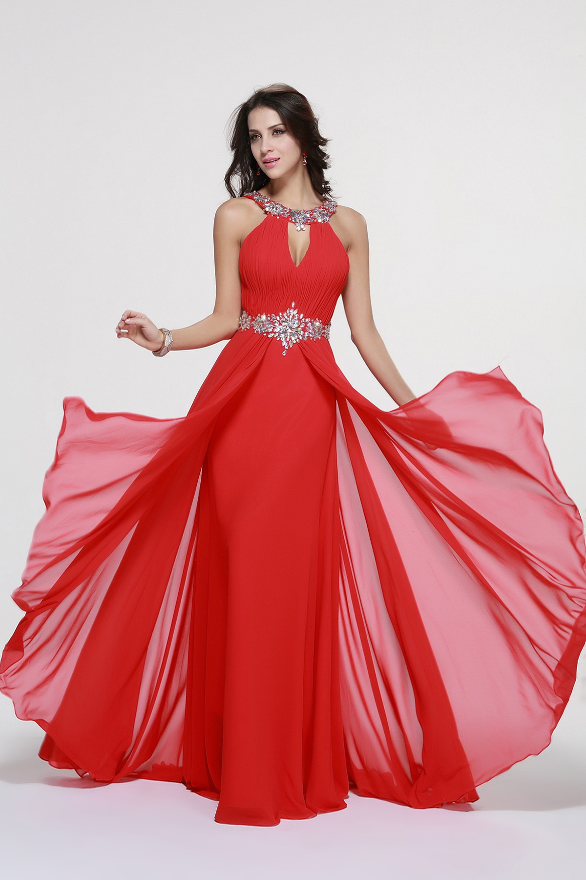 Sleeveless Halter Neck A-line Long Red Chiffon Prom Dress