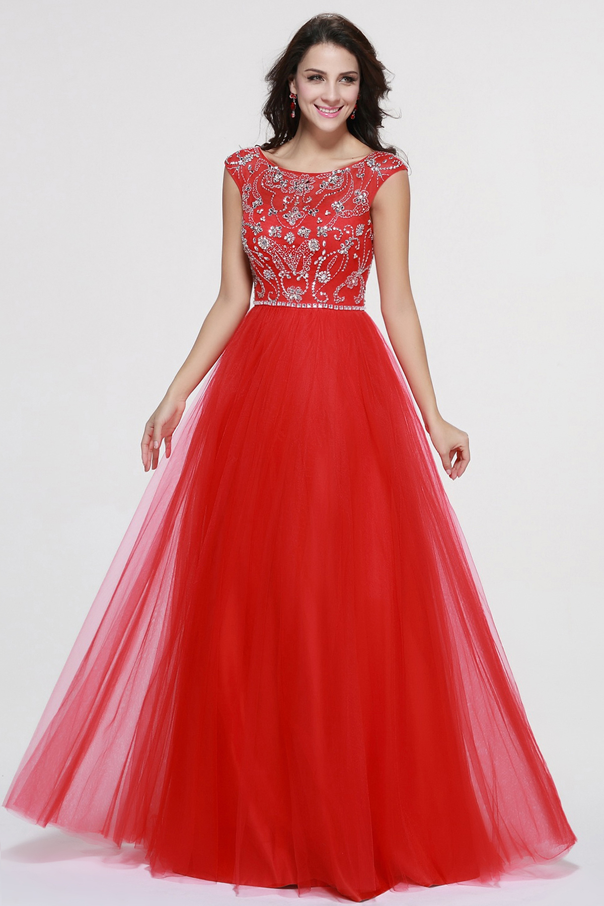 Bling Beaded Patterns Bodice A-line Red Tulle Prom Dress