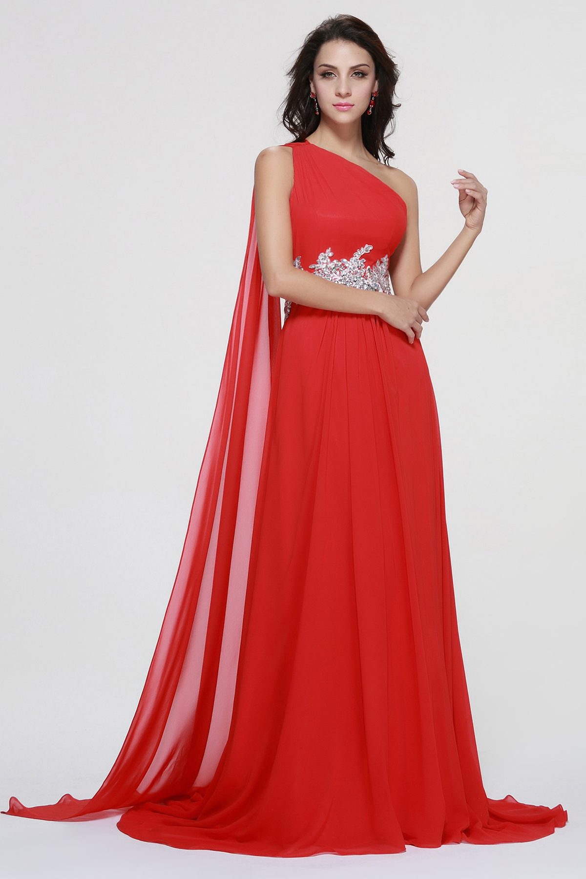 Beading Flared Strap Long Red A-line Chiffon Prom Dress