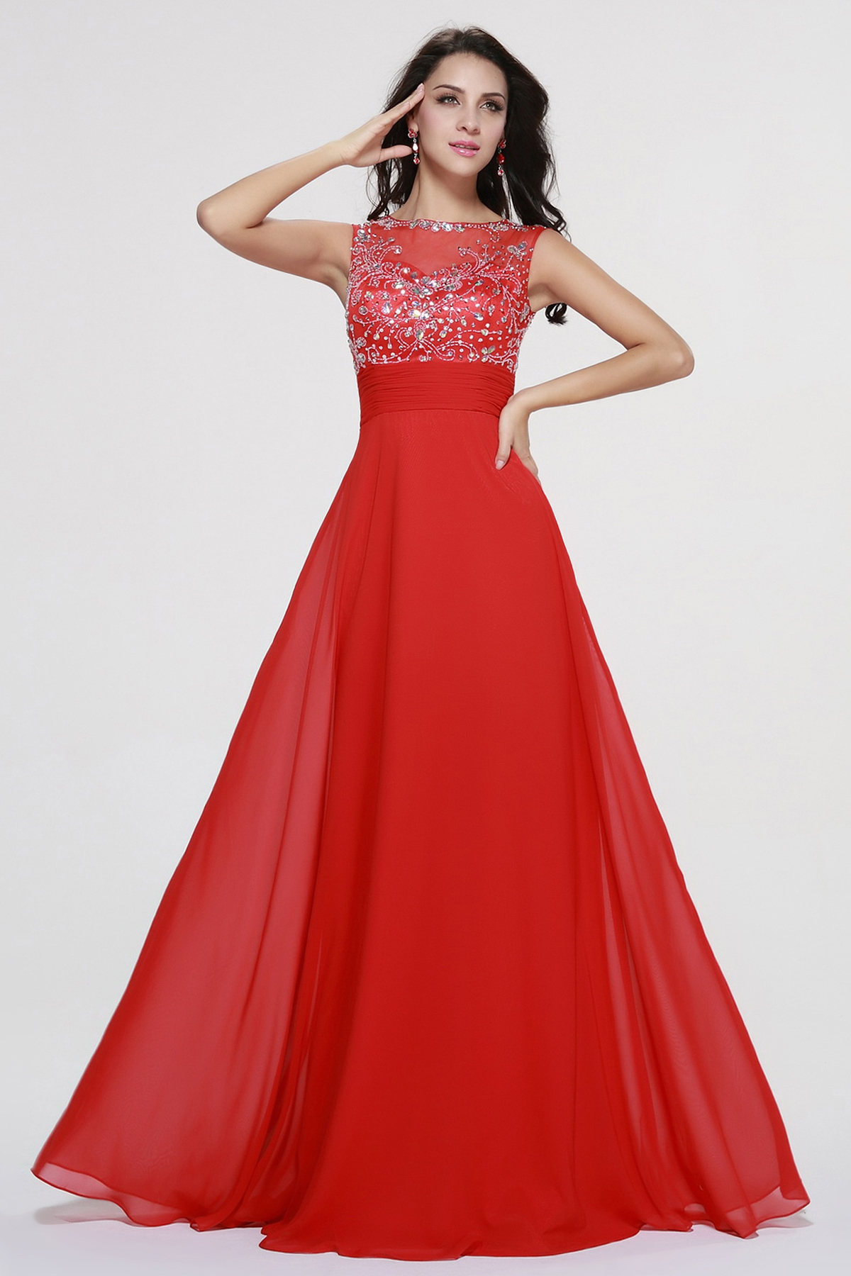 Sleeveless Beading A-line Long Red Chiffon Prom Dress