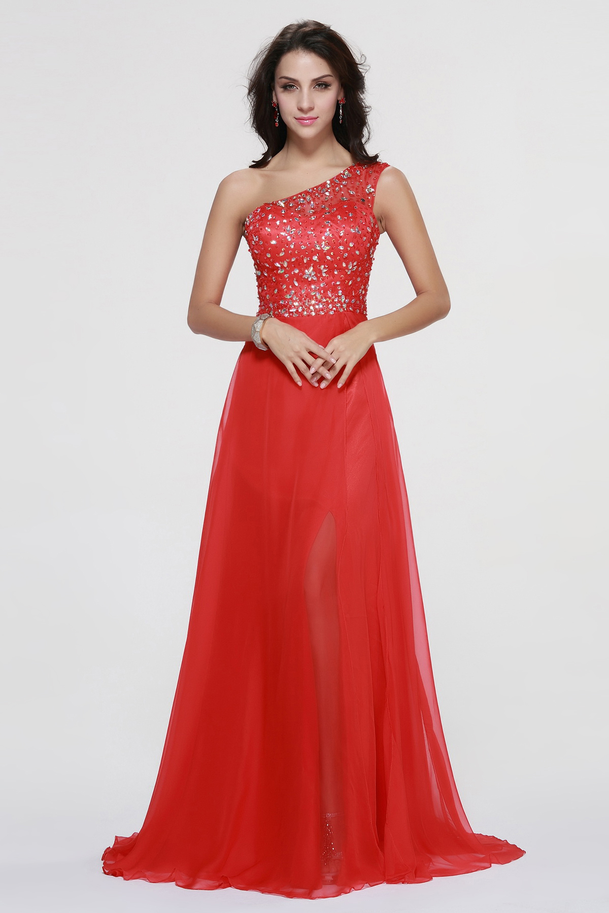 Red Sleeveless One Shoulder Beading Long A-line Chiffon Prom Dress