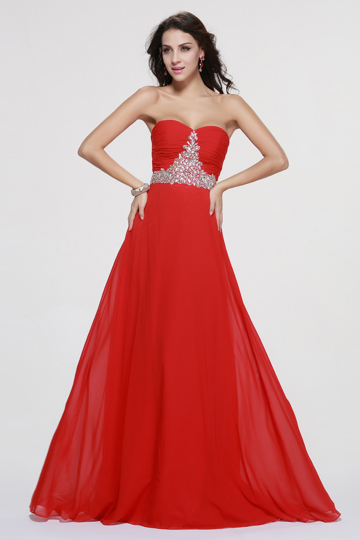 Red Chiffon Strpaless Sweetheart Long Prom Dress Online