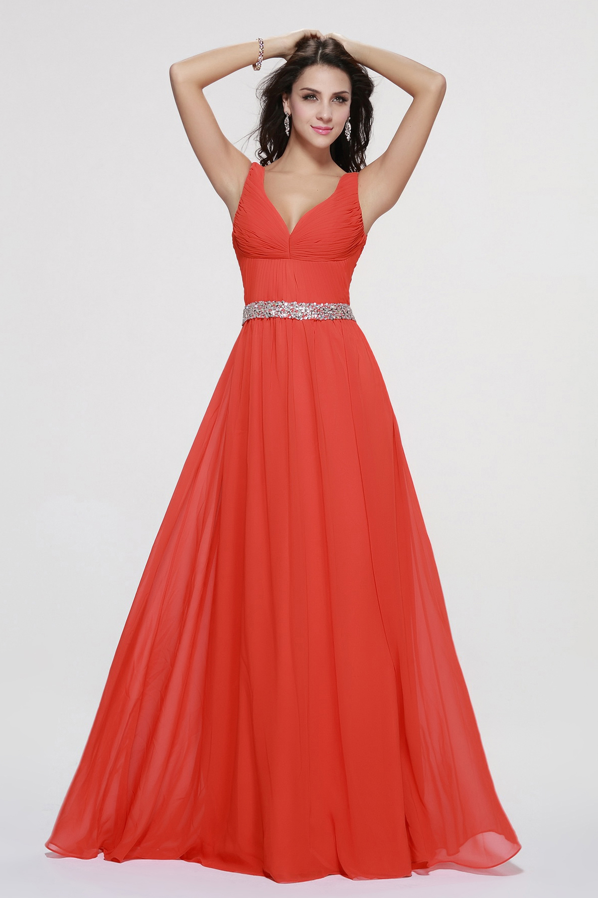 Sleeveless V Neck A-line Long Red Chiffon Prom Dress with Beading