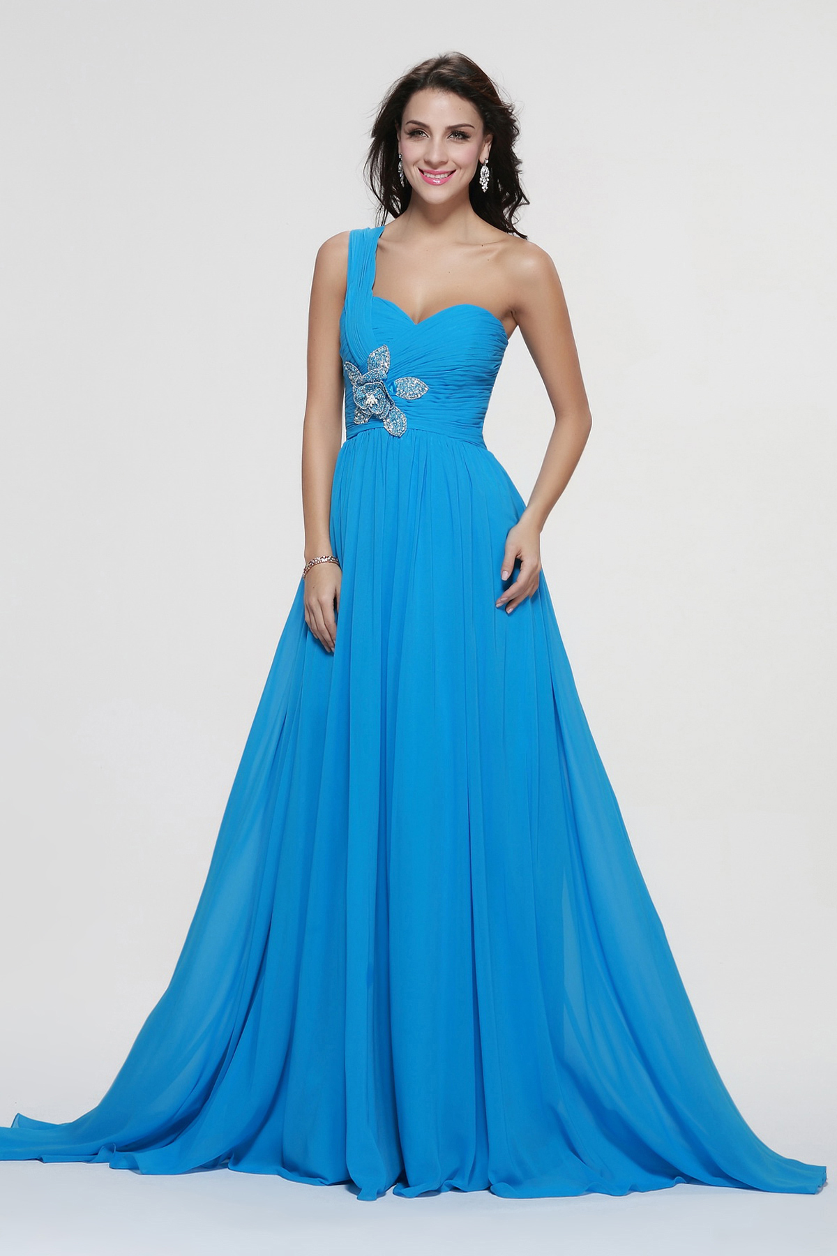 Sleeveless One Shoulder Beading A-line Pool Blue Prom Dress