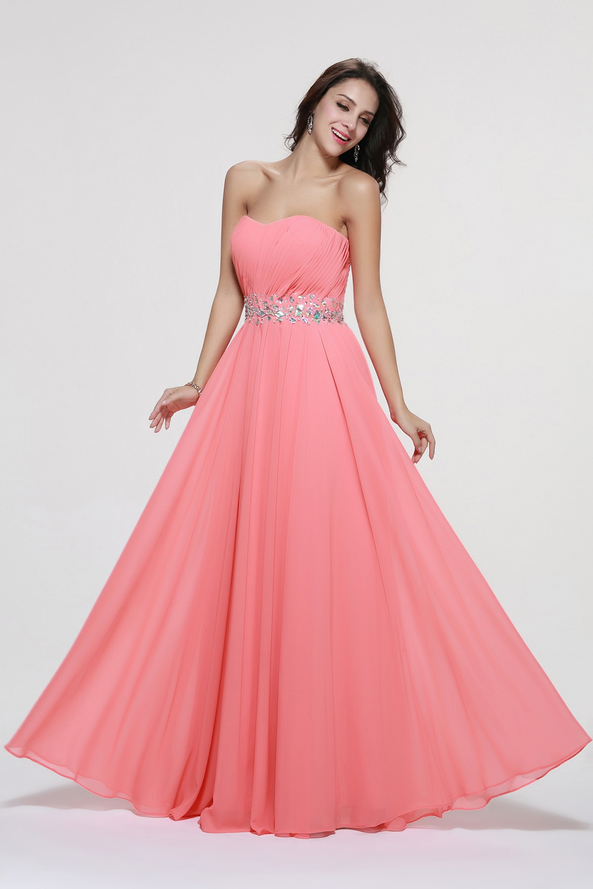 Strapless Beading A-line Long Chiffon Prom Dress with Beading