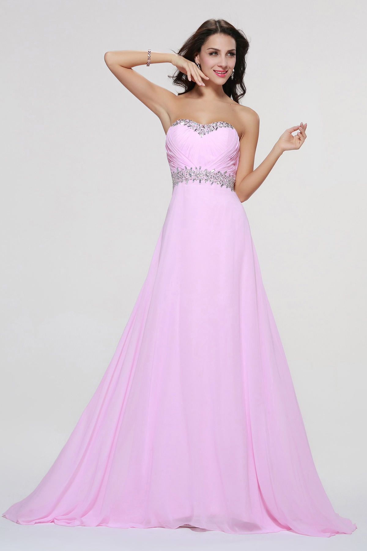 Hot Sale Simple A-line Long Candy Pink Chiffon Junior Prom Dress