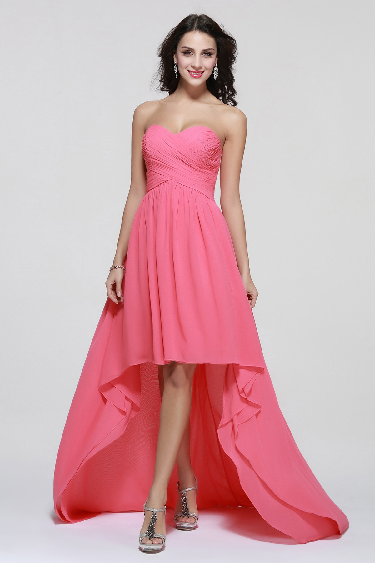 High Low Strapless Ruching Long Chiffon Prom Dress