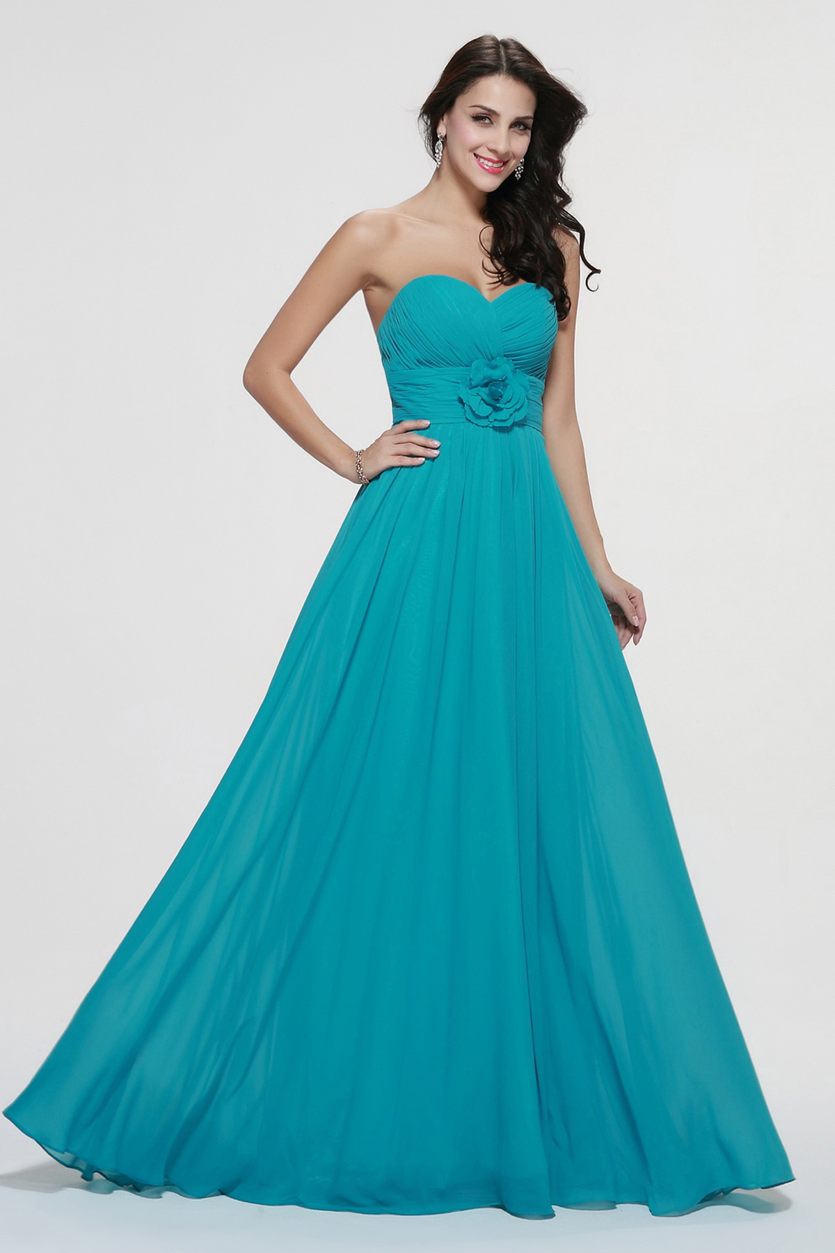 Strapless A-line Long Chiffon Prom Dress with Flowers