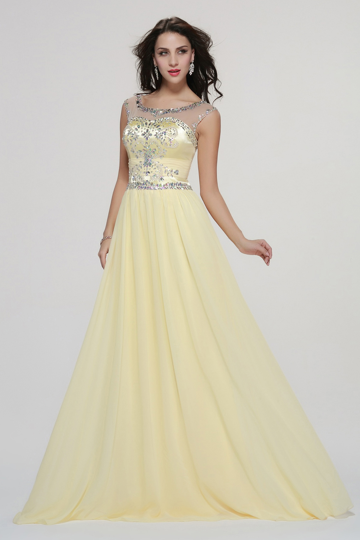 Sparkling Beaded Illusion Neck Beading A-line Long Daffodil Chiffon Prom Dress