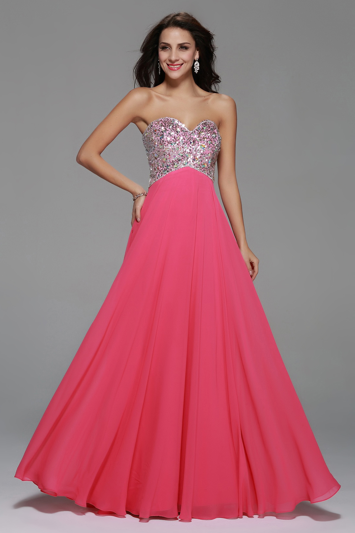 Strapless Sequin Bodice Empire A-line Long Chiffon Prom Dress