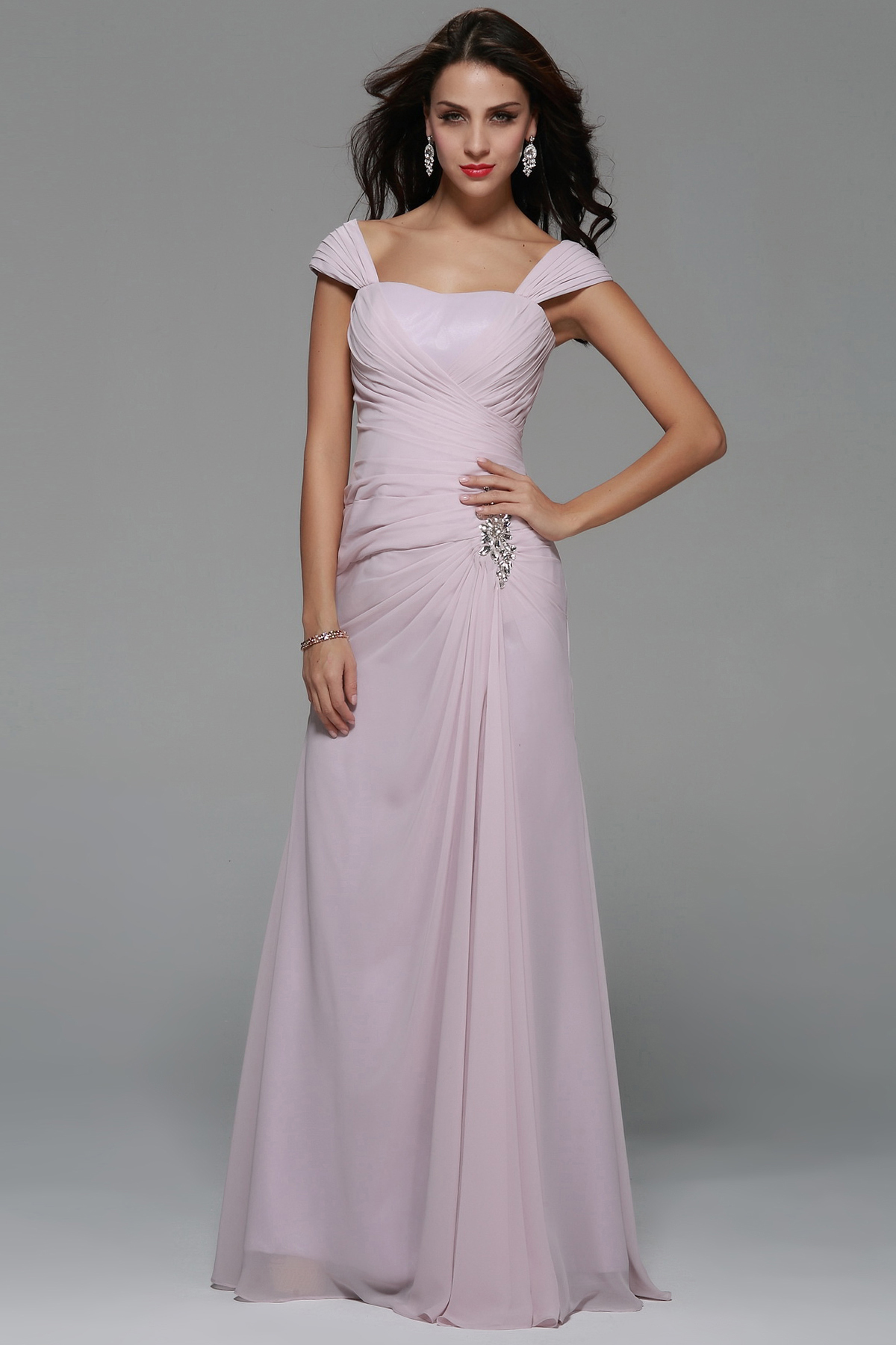 Shoulder Straps Beading A-line Long Pinky Chiffon Prom Dress