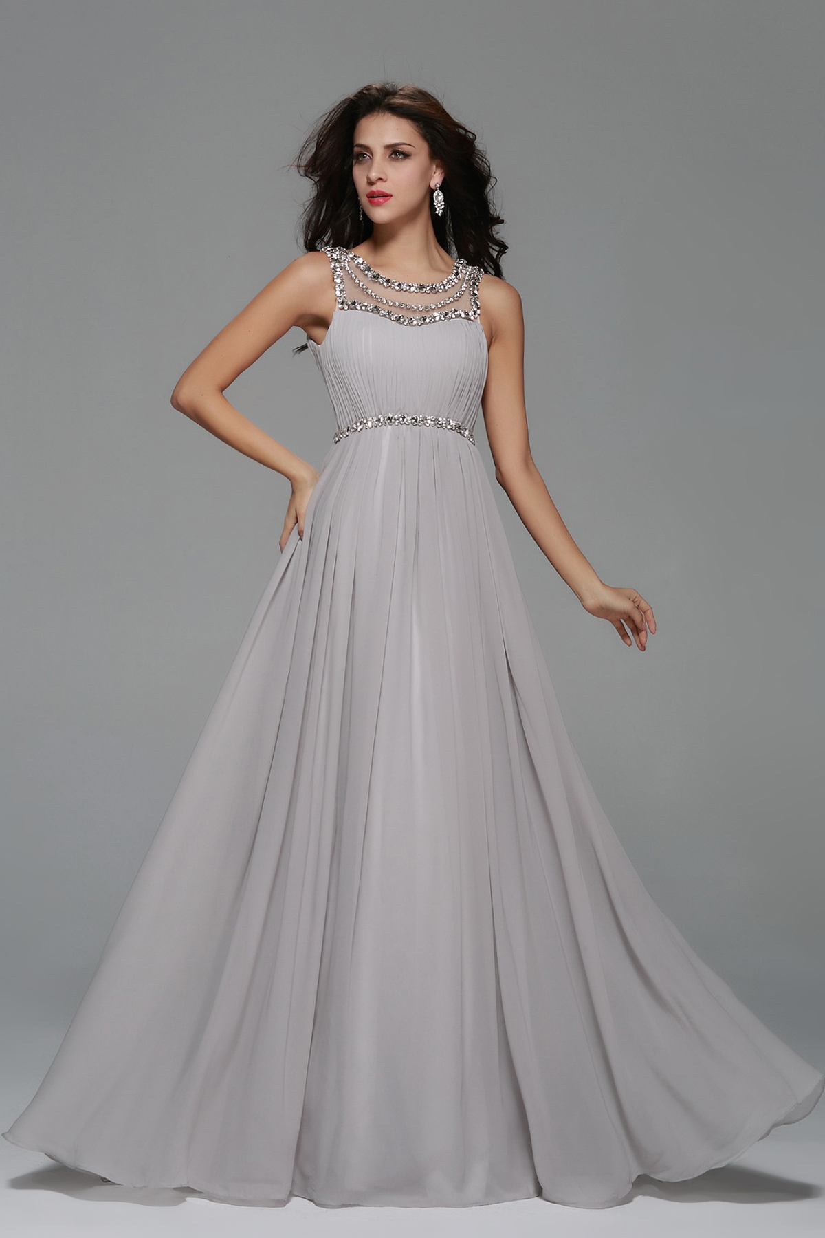 Beading A-line Silver Long Chiffon Prom Dress